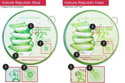 Nature Republic Aloe Vera Tampak Depan Asli vs Palsu